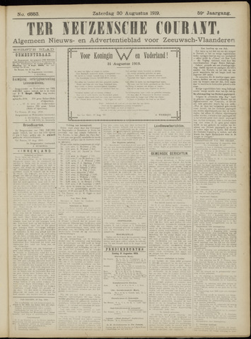 Ter Neuzensche Courant. Algemeen Nieuws- en Advertentieblad voor Zeeuwsch-Vlaanderen / Neuzensche Courant ... (idem) / (Algemeen) nieuws en advertentieblad voor Zeeuwsch-Vlaanderen 1919-08-30