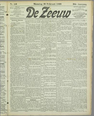 De Zeeuw. Christelijk-historisch nieuwsblad voor Zeeland 1920-02-16