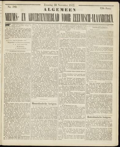 Ter Neuzensche Courant. Algemeen Nieuws- en Advertentieblad voor Zeeuwsch-Vlaanderen / Neuzensche Courant ... (idem) / (Algemeen) nieuws en advertentieblad voor Zeeuwsch-Vlaanderen 1872-11-23