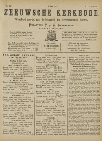 Zeeuwsche kerkbode, weekblad gewijd aan de belangen der gereformeerde kerken/ Zeeuwsch kerkblad 1891-05-02