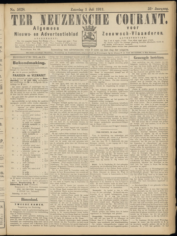 Ter Neuzensche Courant. Algemeen Nieuws- en Advertentieblad voor Zeeuwsch-Vlaanderen / Neuzensche Courant ... (idem) / (Algemeen) nieuws en advertentieblad voor Zeeuwsch-Vlaanderen 1911-07-01