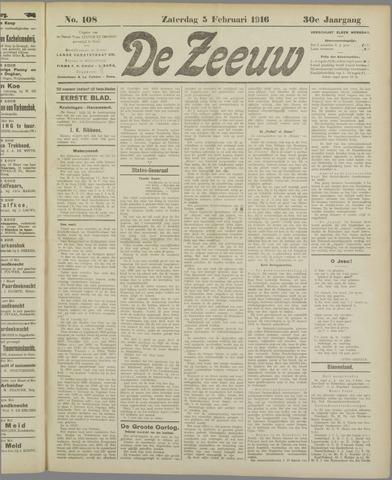 De Zeeuw. Christelijk-historisch nieuwsblad voor Zeeland 1916-02-05