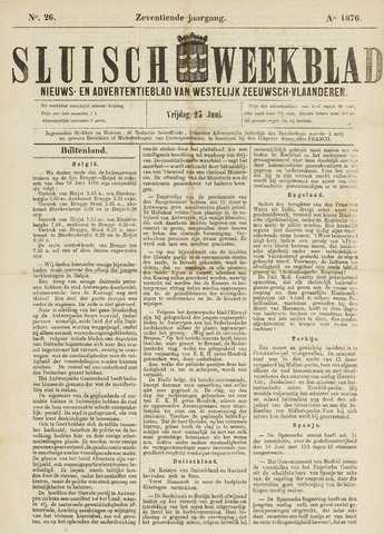 Sluisch Weekblad. Nieuws- en advertentieblad voor Westelijk Zeeuwsch-Vlaanderen 1876-06-23