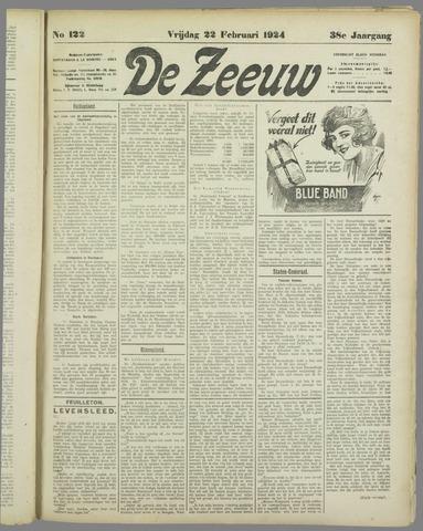 De Zeeuw. Christelijk-historisch nieuwsblad voor Zeeland 1924-02-22