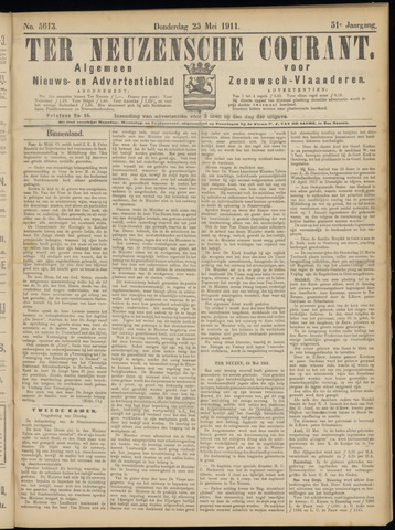 Ter Neuzensche Courant. Algemeen Nieuws- en Advertentieblad voor Zeeuwsch-Vlaanderen / Neuzensche Courant ... (idem) / (Algemeen) nieuws en advertentieblad voor Zeeuwsch-Vlaanderen 1911-05-25