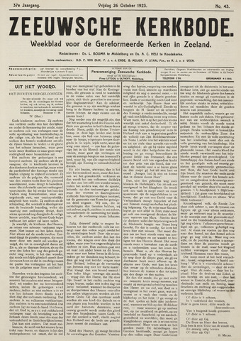 Zeeuwsche kerkbode, weekblad gewijd aan de belangen der gereformeerde kerken/ Zeeuwsch kerkblad 1923-10-26