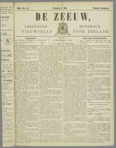De Zeeuw. Christelijk-historisch nieuwsblad voor Zeeland 1888-05-08