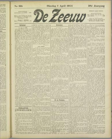 De Zeeuw. Christelijk-historisch nieuwsblad voor Zeeland 1924-04-01
