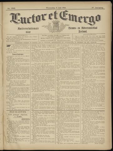 Luctor et Emergo. Antirevolutionair nieuws- en advertentieblad voor Zeeland / Zeeuwsch-Vlaanderen. Orgaan ter verspreiding van de christelijke beginselen in Zeeuwsch-Vlaanderen 1916-07-05
