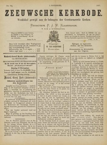 Zeeuwsche kerkbode, weekblad gewijd aan de belangen der gereformeerde kerken/ Zeeuwsch kerkblad 1887-11-05