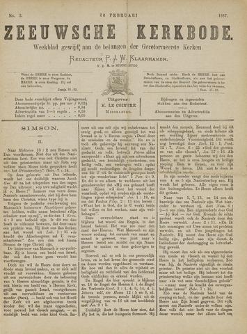 Zeeuwsche kerkbode, weekblad gewijd aan de belangen der gereformeerde kerken/ Zeeuwsch kerkblad 1887-02-26