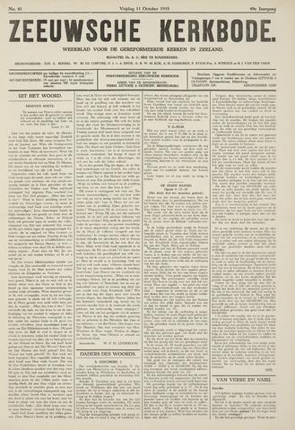 Zeeuwsche kerkbode, weekblad gewijd aan de belangen der gereformeerde kerken/ Zeeuwsch kerkblad 1935-10-11