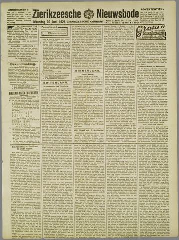 Zierikzeesche Nieuwsbode 1924-06-30