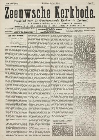 Zeeuwsche kerkbode, weekblad gewijd aan de belangen der gereformeerde kerken/ Zeeuwsch kerkblad 1918-07-05