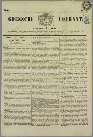 Goessche Courant 1852-01-01