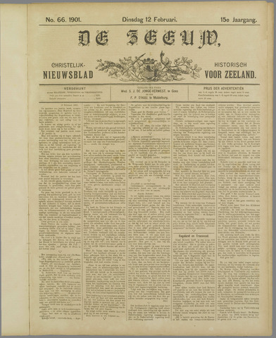 De Zeeuw. Christelijk-historisch nieuwsblad voor Zeeland 1901-02-12