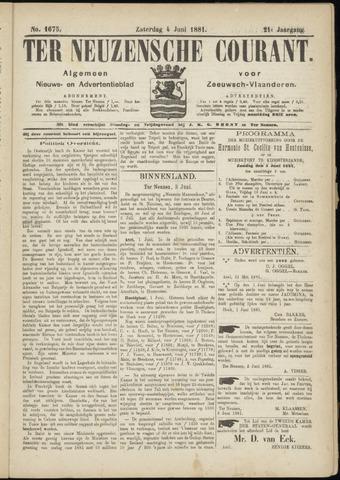 Ter Neuzensche Courant. Algemeen Nieuws- en Advertentieblad voor Zeeuwsch-Vlaanderen / Neuzensche Courant ... (idem) / (Algemeen) nieuws en advertentieblad voor Zeeuwsch-Vlaanderen 1881-06-04