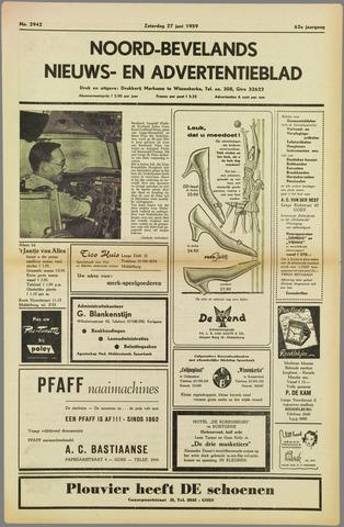 Noord-Bevelands Nieuws- en advertentieblad 1959-06-27