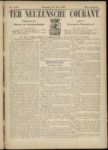 Ter Neuzensche Courant. Algemeen Nieuws- en Advertentieblad voor Zeeuwsch-Vlaanderen / Neuzensche Courant ... (idem) / (Algemeen) nieuws en advertentieblad voor Zeeuwsch-Vlaanderen 1882-05-31