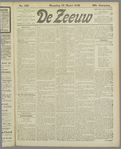 De Zeeuw. Christelijk-historisch nieuwsblad voor Zeeland 1916-03-13