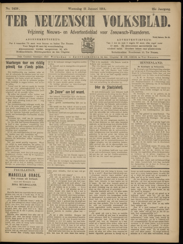 Ter Neuzensch Volksblad. Vrijzinnig nieuws- en advertentieblad voor Zeeuwsch- Vlaanderen / Zeeuwsch Nieuwsblad. Nieuws- en advertentieblad voor Zeeland 1914-01-21