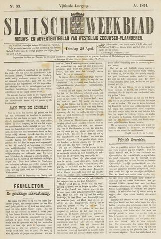 Sluisch Weekblad. Nieuws- en advertentieblad voor Westelijk Zeeuwsch-Vlaanderen 1874-04-28