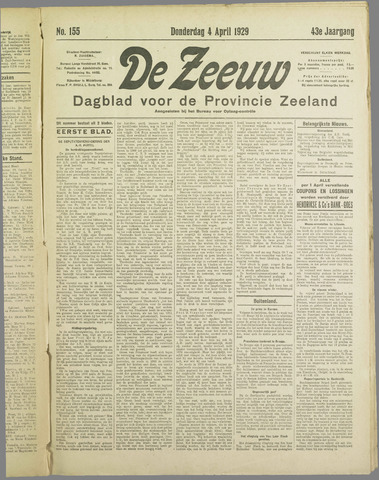 De Zeeuw. Christelijk-historisch nieuwsblad voor Zeeland 1929-04-04