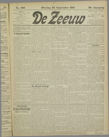 De Zeeuw. Christelijk-historisch nieuwsblad voor Zeeland 1917-09-25