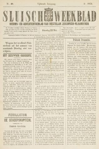 Sluisch Weekblad. Nieuws- en advertentieblad voor Westelijk Zeeuwsch-Vlaanderen 1874-05-22