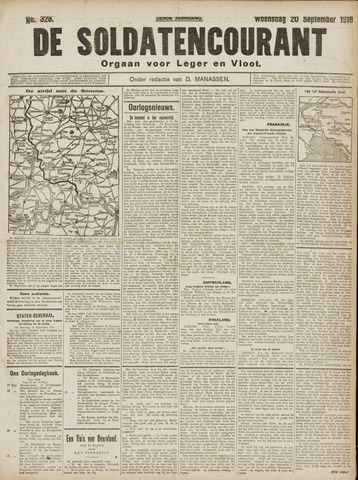 De Soldatencourant. Orgaan voor Leger en Vloot 1916-09-20