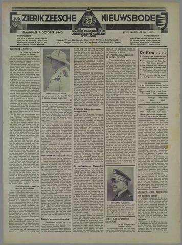 Zierikzeesche Nieuwsbode 1940-10-07