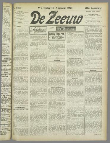 De Zeeuw. Christelijk-historisch nieuwsblad voor Zeeland 1921-08-10