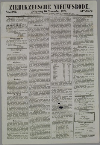 Zierikzeesche Nieuwsbode 1874-11-10