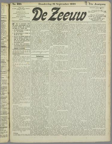 De Zeeuw. Christelijk-historisch nieuwsblad voor Zeeland 1920-09-16