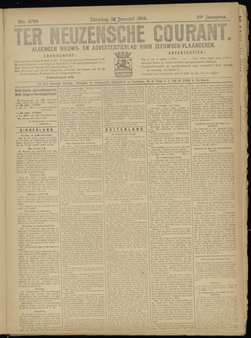 Ter Neuzensche Courant. Algemeen Nieuws- en Advertentieblad voor Zeeuwsch-Vlaanderen / Neuzensche Courant ... (idem) / (Algemeen) nieuws en advertentieblad voor Zeeuwsch-Vlaanderen 1919-01-28