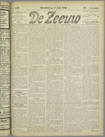 De Zeeuw. Christelijk-historisch nieuwsblad voor Zeeland 1921-07-07