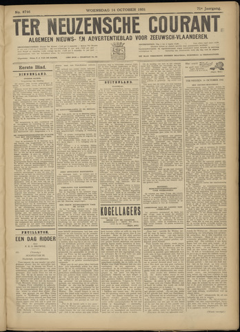 Ter Neuzensche Courant. Algemeen Nieuws- en Advertentieblad voor Zeeuwsch-Vlaanderen / Neuzensche Courant ... (idem) / (Algemeen) nieuws en advertentieblad voor Zeeuwsch-Vlaanderen 1931-10-14