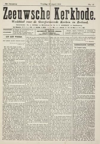 Zeeuwsche kerkbode, weekblad gewijd aan de belangen der gereformeerde kerken/ Zeeuwsch kerkblad 1918-04-19