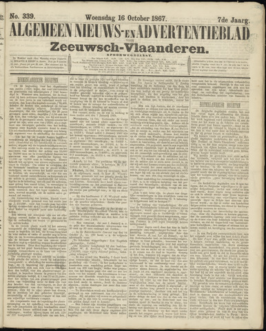 Ter Neuzensche Courant. Algemeen Nieuws- en Advertentieblad voor Zeeuwsch-Vlaanderen / Neuzensche Courant ... (idem) / (Algemeen) nieuws en advertentieblad voor Zeeuwsch-Vlaanderen 1867-10-16