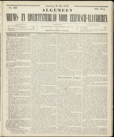 Ter Neuzensche Courant. Algemeen Nieuws- en Advertentieblad voor Zeeuwsch-Vlaanderen / Neuzensche Courant ... (idem) / (Algemeen) nieuws en advertentieblad voor Zeeuwsch-Vlaanderen 1870-05-28