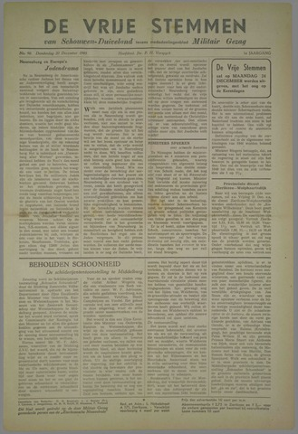 Vrije Stemmen van Schouwen-Duiveland, tevens mededeelingenblad Militair Gezag 1945-12-20