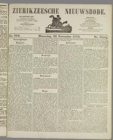 Zierikzeesche Nieuwsbode 1852-11-22