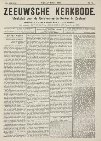 Zeeuwsche kerkbode, weekblad gewijd aan de belangen der gereformeerde kerken/ Zeeuwsch kerkblad 1924-10-24