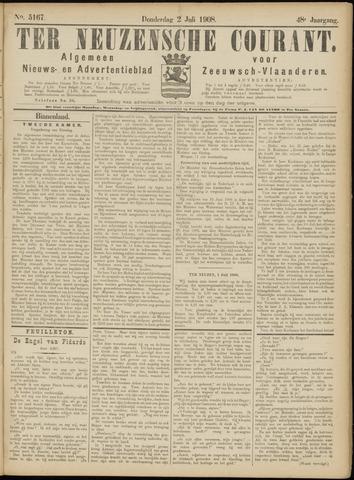 Ter Neuzensche Courant. Algemeen Nieuws- en Advertentieblad voor Zeeuwsch-Vlaanderen / Neuzensche Courant ... (idem) / (Algemeen) nieuws en advertentieblad voor Zeeuwsch-Vlaanderen 1908-07-02