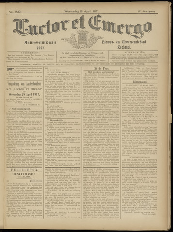 Luctor et Emergo. Antirevolutionair nieuws- en advertentieblad voor Zeeland / Zeeuwsch-Vlaanderen. Orgaan ter verspreiding van de christelijke beginselen in Zeeuwsch-Vlaanderen 1917-04-18