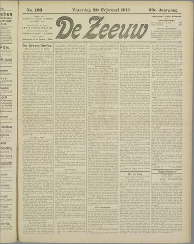De Zeeuw. Christelijk-historisch nieuwsblad voor Zeeland 1915-02-20