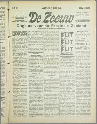 De Zeeuw. Christelijk-historisch nieuwsblad voor Zeeland 1930-06-14