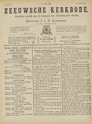 Zeeuwsche kerkbode, weekblad gewijd aan de belangen der gereformeerde kerken/ Zeeuwsch kerkblad 1888-05-12