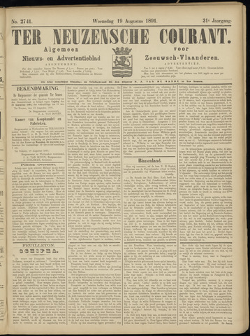 Ter Neuzensche Courant. Algemeen Nieuws- en Advertentieblad voor Zeeuwsch-Vlaanderen / Neuzensche Courant ... (idem) / (Algemeen) nieuws en advertentieblad voor Zeeuwsch-Vlaanderen 1891-08-19