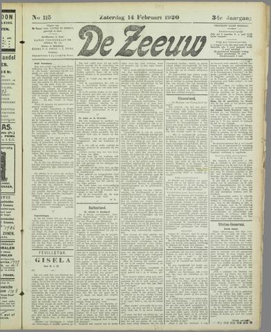 De Zeeuw. Christelijk-historisch nieuwsblad voor Zeeland 1920-02-14